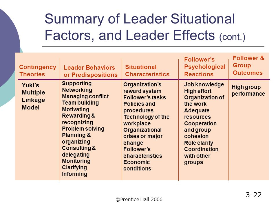 Summary of leaders and followers