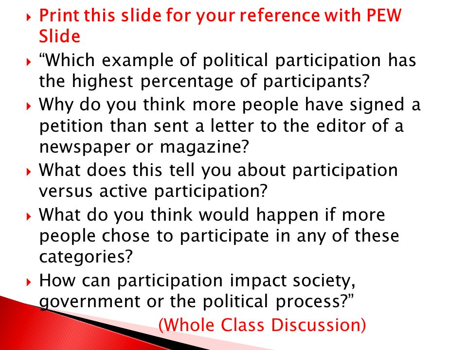 Print this slide for your reference with PEW Slide