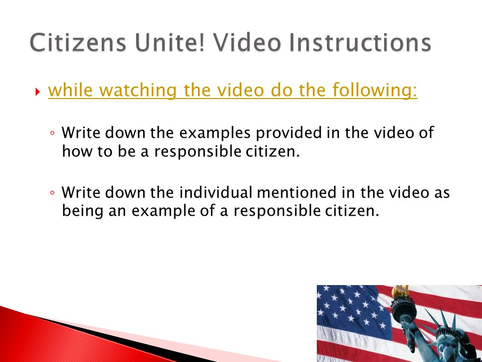 Citizens Unite! Video Instructions