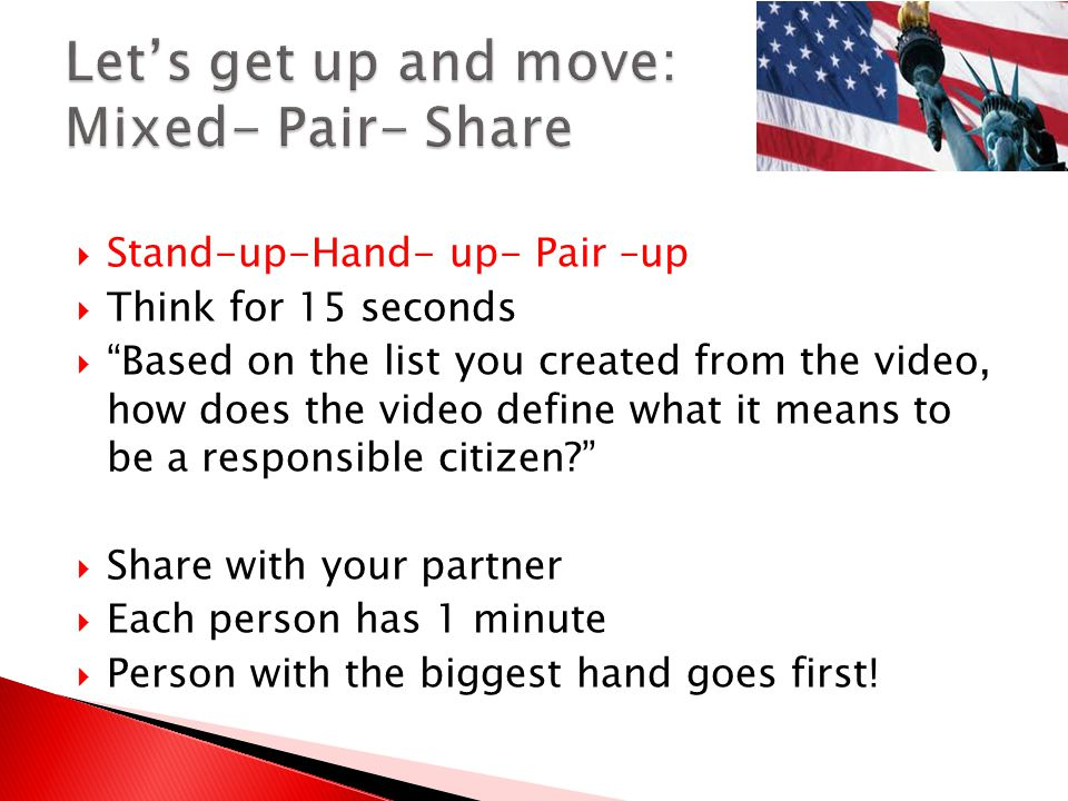 Let's get up and move: Mixed- Pair- Share