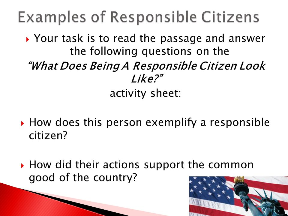 Examples of Responsible Citizens