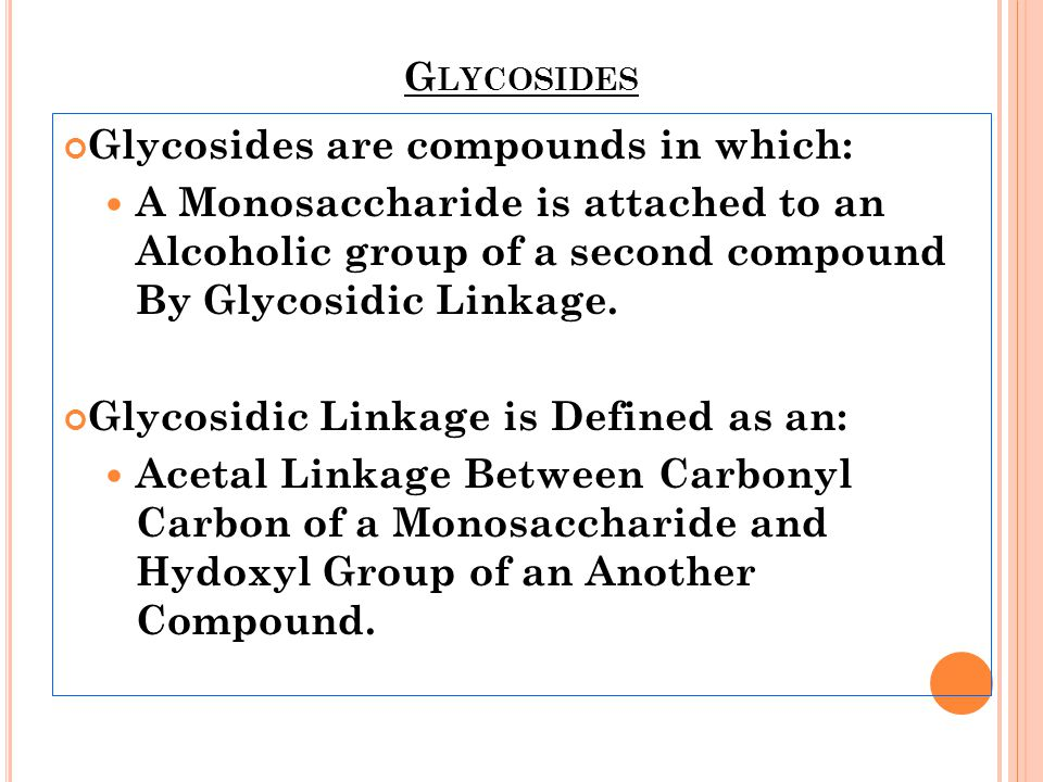 Glycosides are compounds in which: