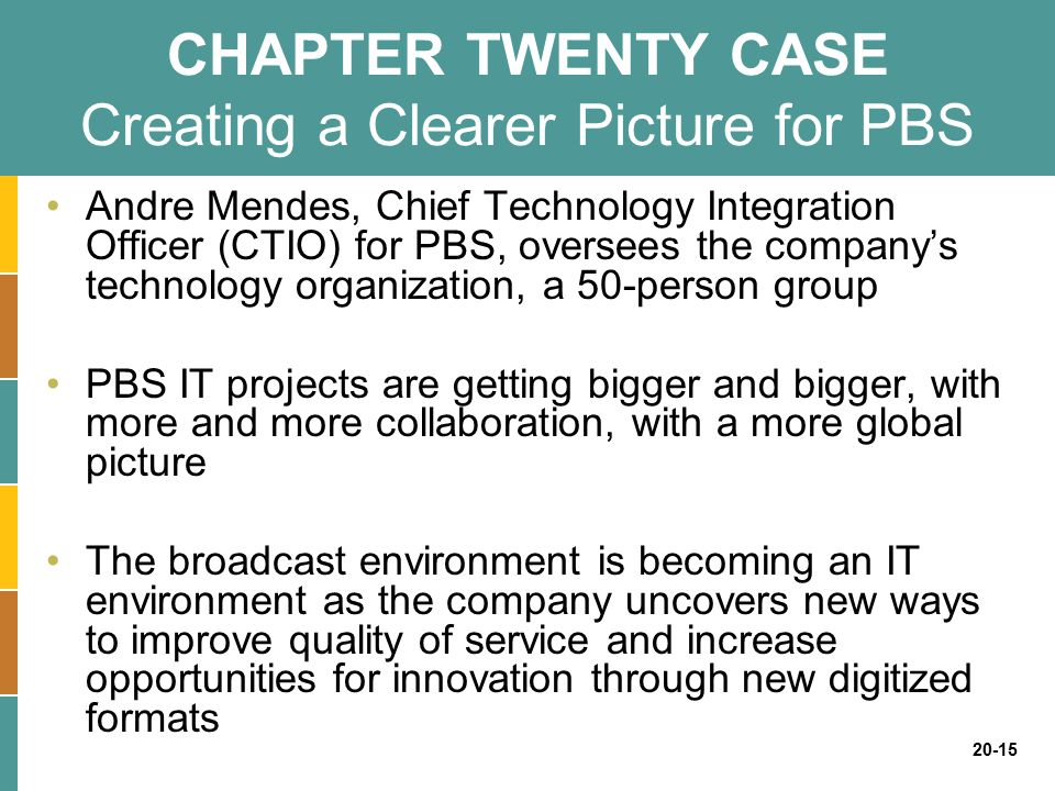 CHAPTER TWENTY CASE Creating a Clearer Picture for PBS