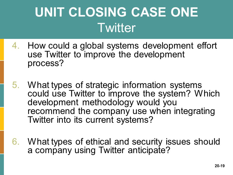 UNIT CLOSING CASE ONE Twitter