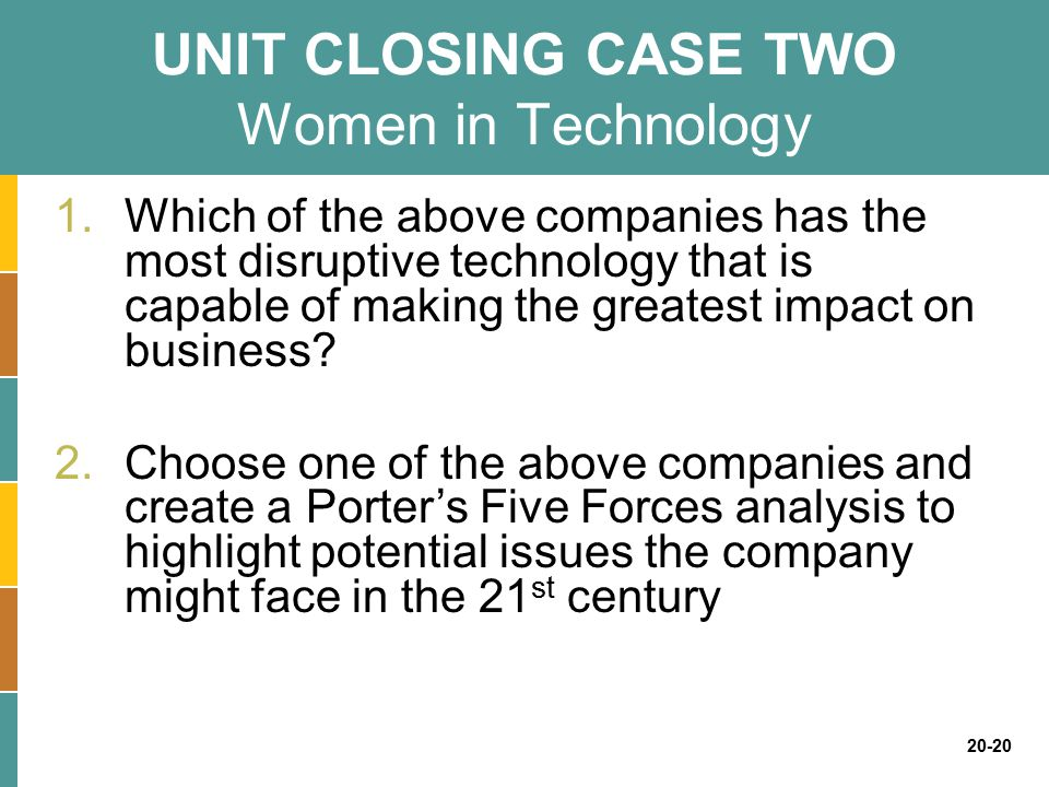 UNIT CLOSING CASE TWO Women in Technology