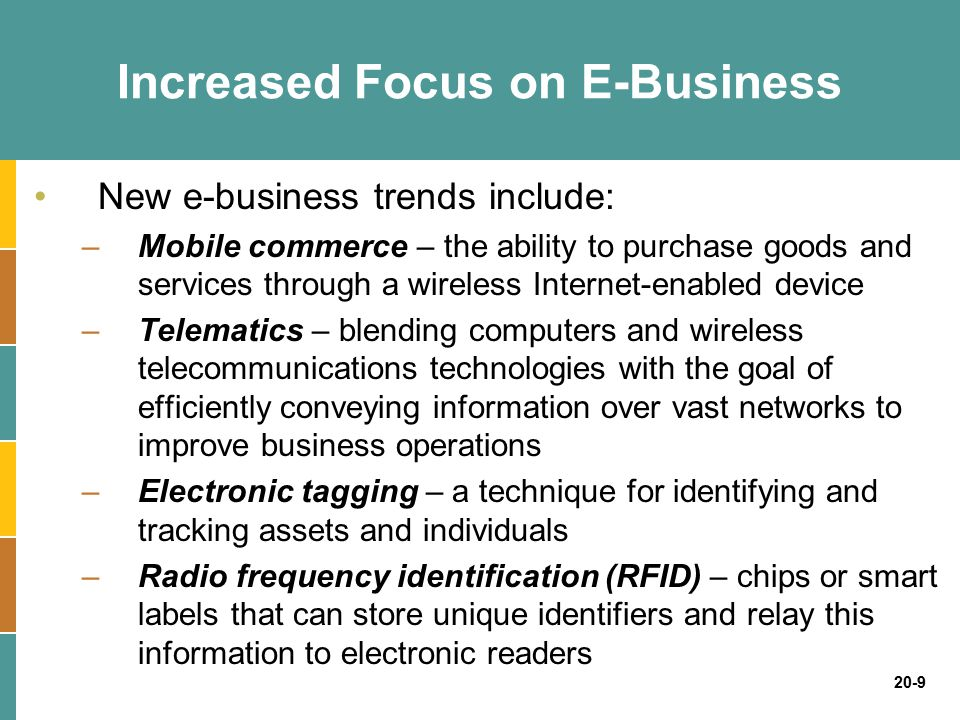 Increased Focus on E-Business