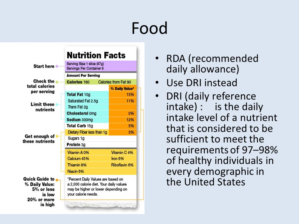 Food RDA (recommended daily allowance) Use DRI instead