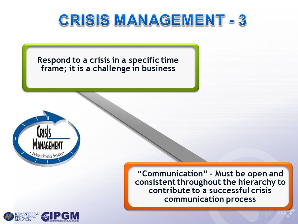 crisis management and communication in organizations Established crisis management teams and corrected public policy are able to  communicate and effectively respond in the event of a crisis the purpose of this .