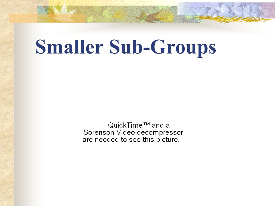 Smaller Sub-Groups