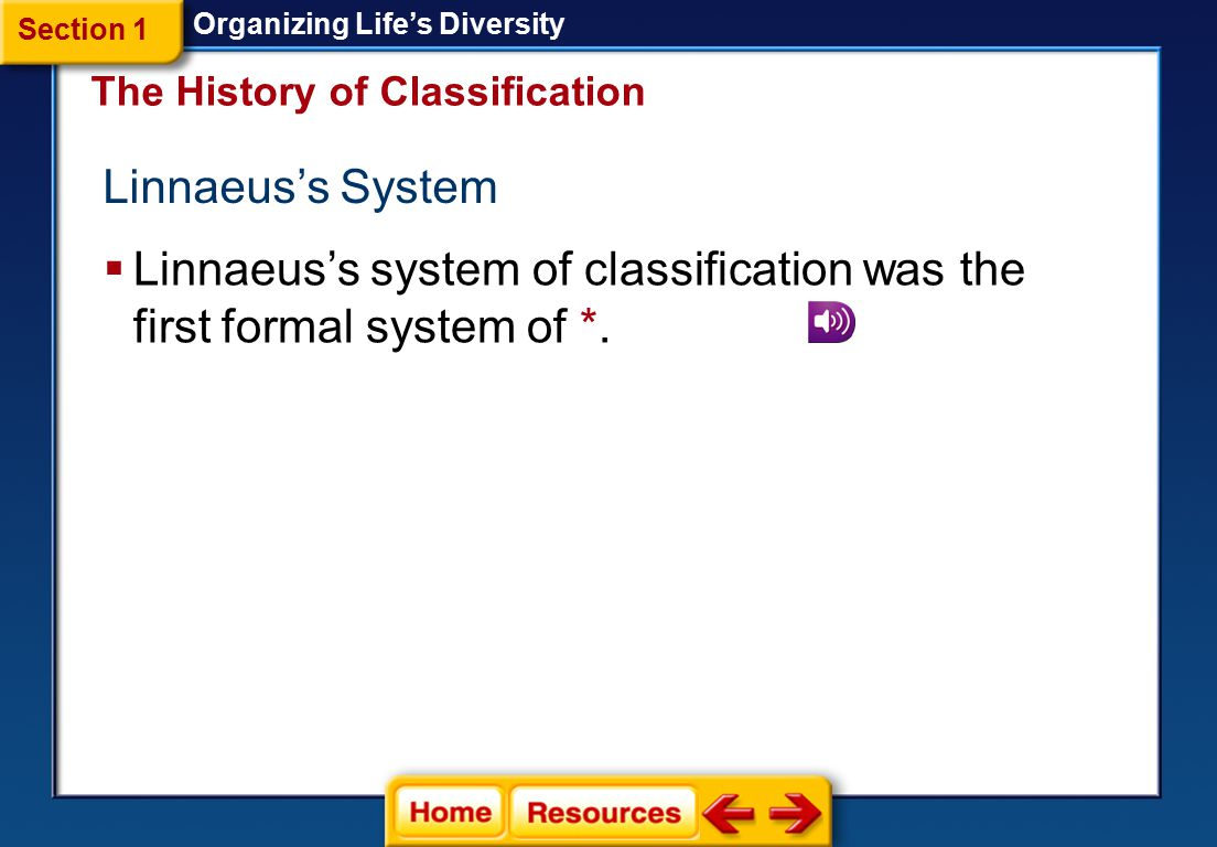 Linnaeus's system of classification was the first formal system of *.