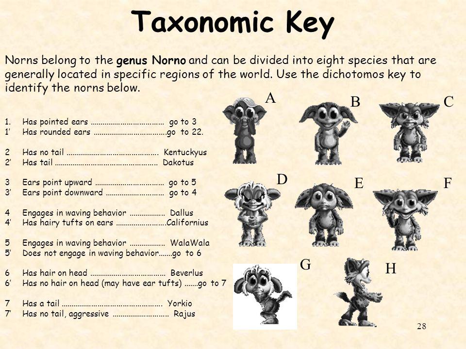 Taxonomic Key A B C D E F G H