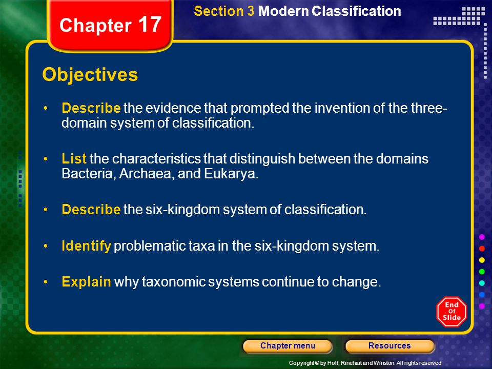 Chapter 17 Objectives Section 3 Modern Classification