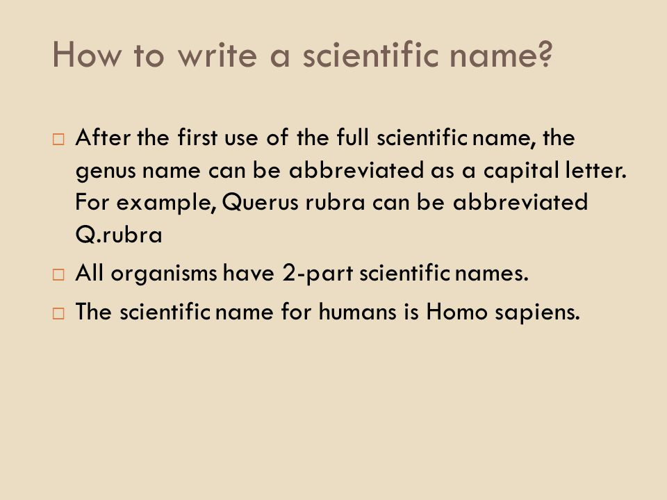 how to write a genus name