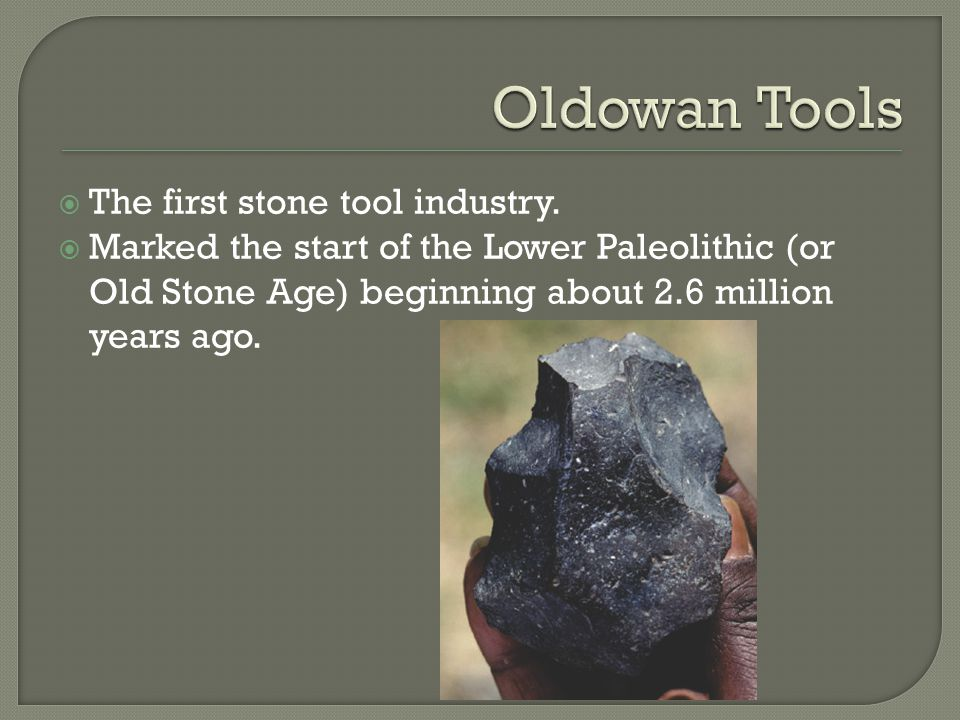 Oldowan Tools The first stone tool industry.