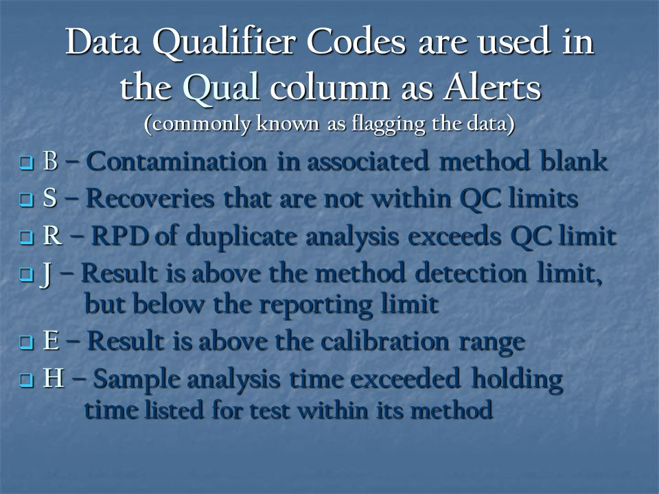 Data Qualifier Codes are used in the Qual column as Alerts (commonly known as flagging the data)