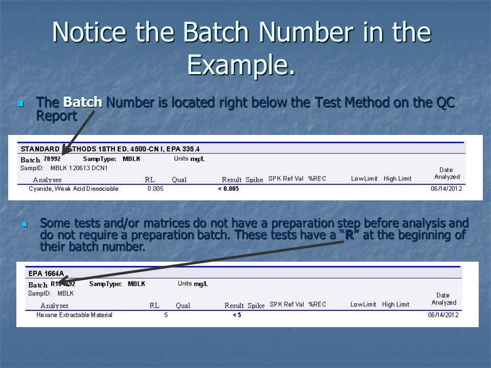 Notice the Batch Number in the Example.