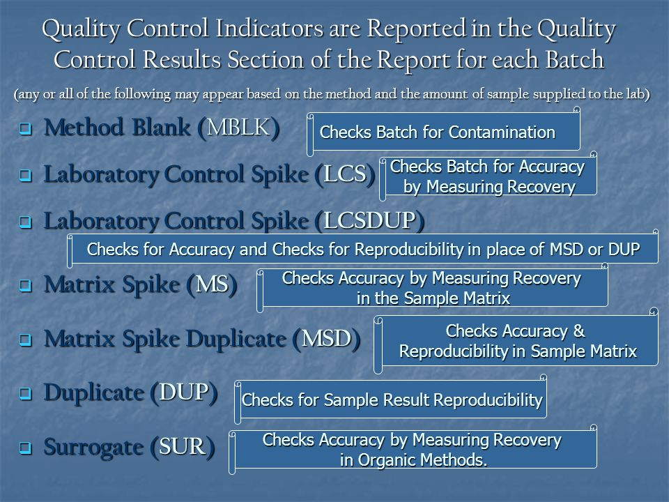 Quality Control Indicators are Reported in the Quality Control Results Section of the Report for each Batch (any or all of the following may appear based on the method and the amount of sample supplied to the lab)