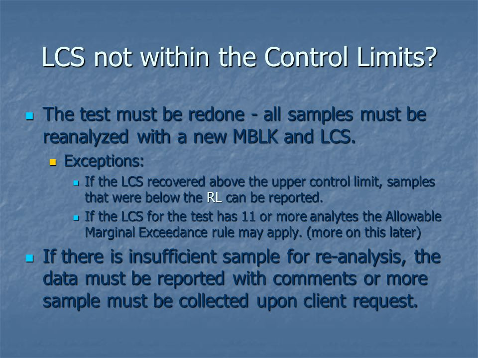 LCS not within the Control Limits