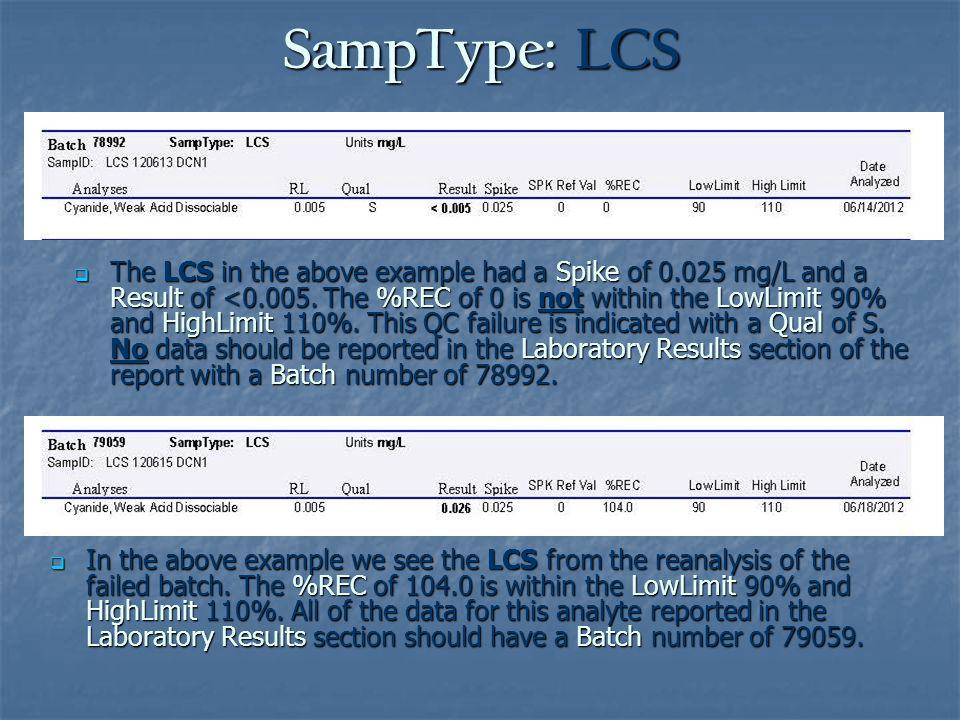 SampType: LCS