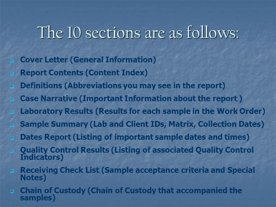 The 10 sections are as follows: