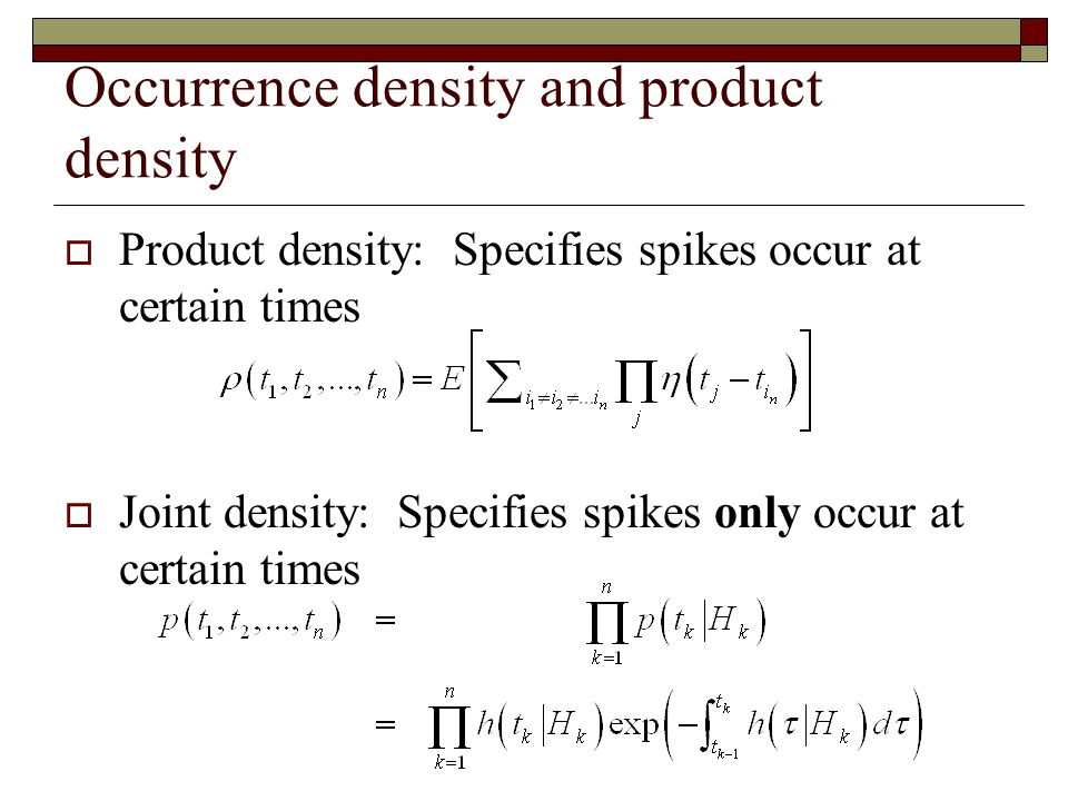 Occurrence density and product density
