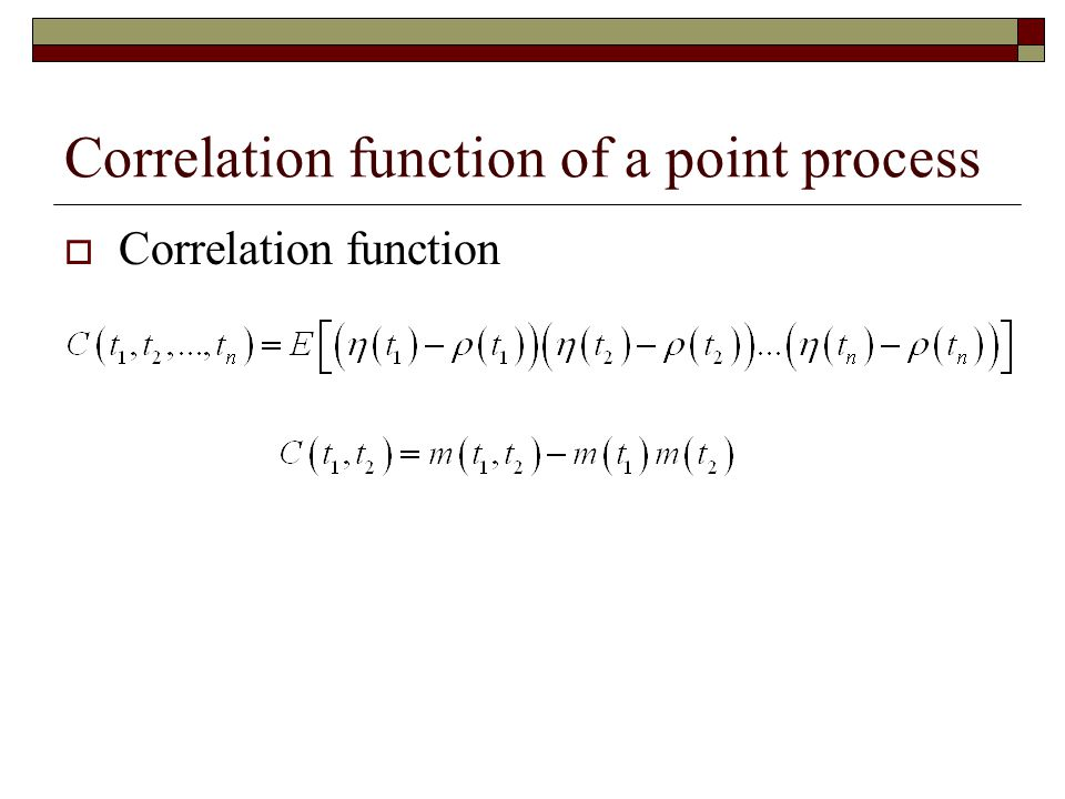 Correlation function of a point process