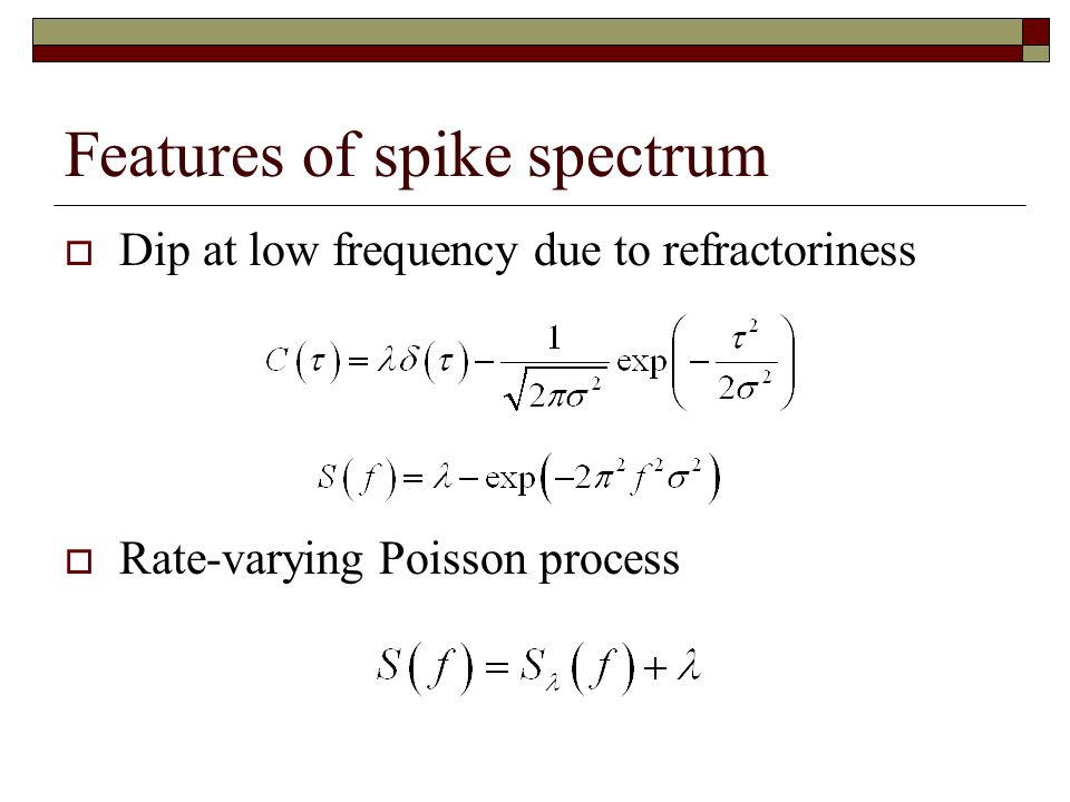 Features of spike spectrum