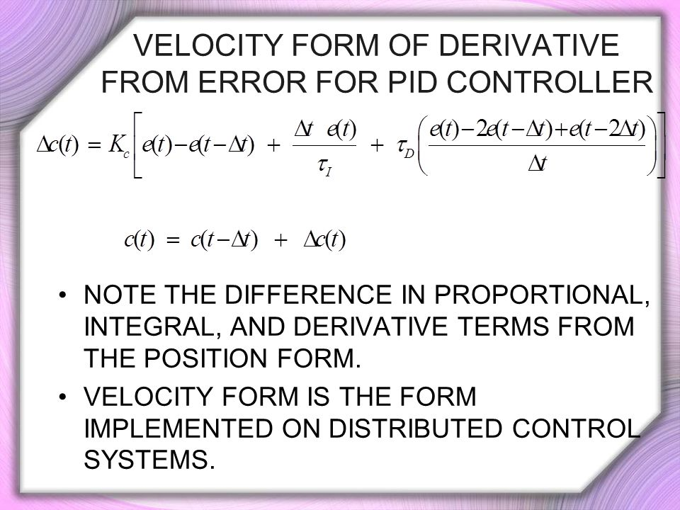 Velocity Form of DERIVATIVE FROM ERROR FOR PID Controller