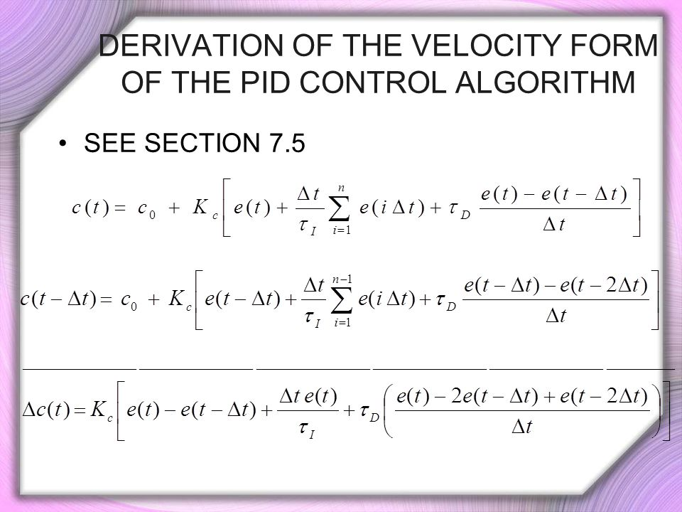 Derivation of the Velocity Form of the PID Control Algorithm