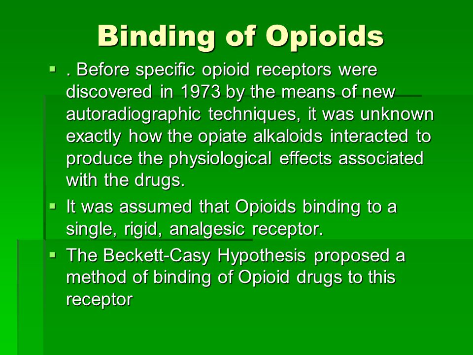 Binding of Opioids