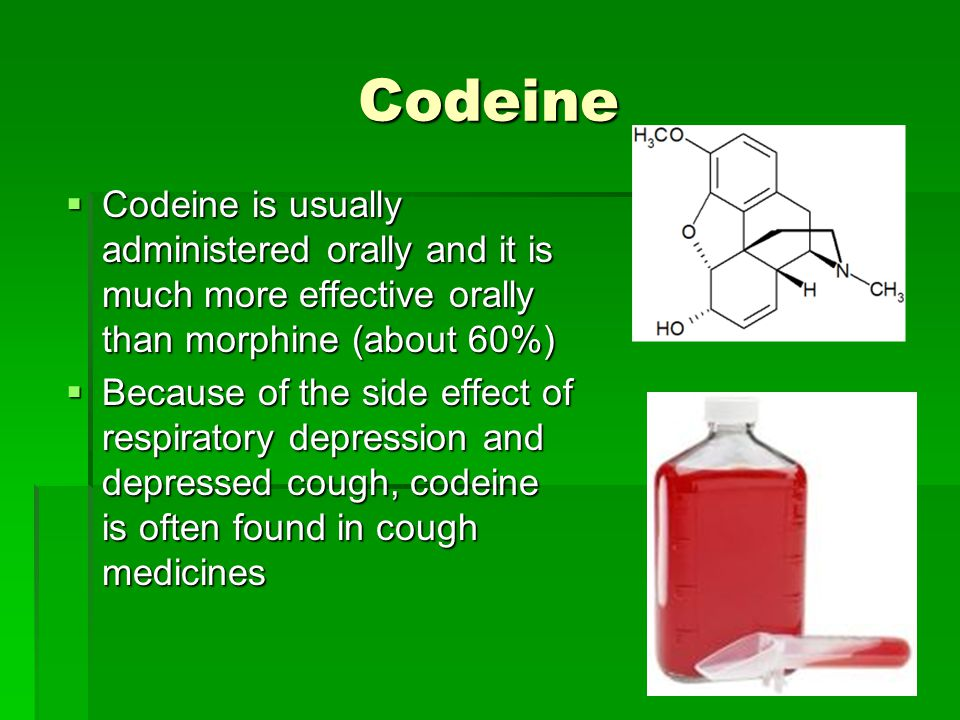 Codeine Codeine is usually administered orally and it is much more effective orally than morphine (about 60%)