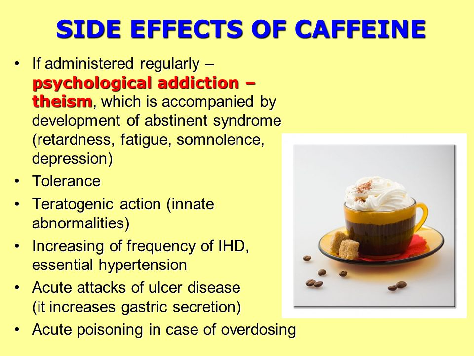 the negative effects of caffeine Caffeine is derived from plants, seeds, nuts and cocoa beans this product is a stimulant it enervates the central nervous system caffeine adds a wired feeling to the body with moderate intake of caffeine, the body does not suffer adverse effects however, many people consume much more caffeine.