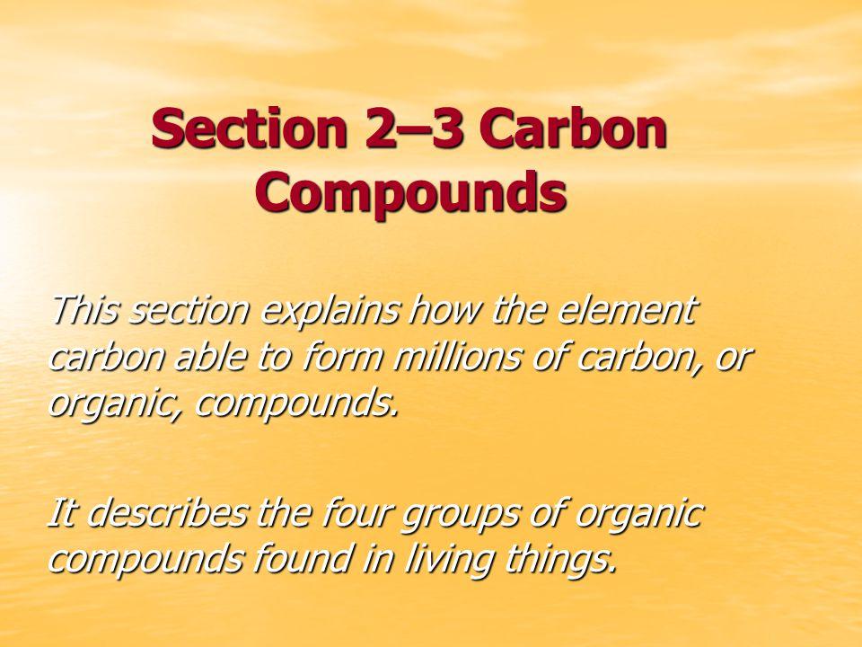 Section 2–3 Carbon Compounds - ppt video online download