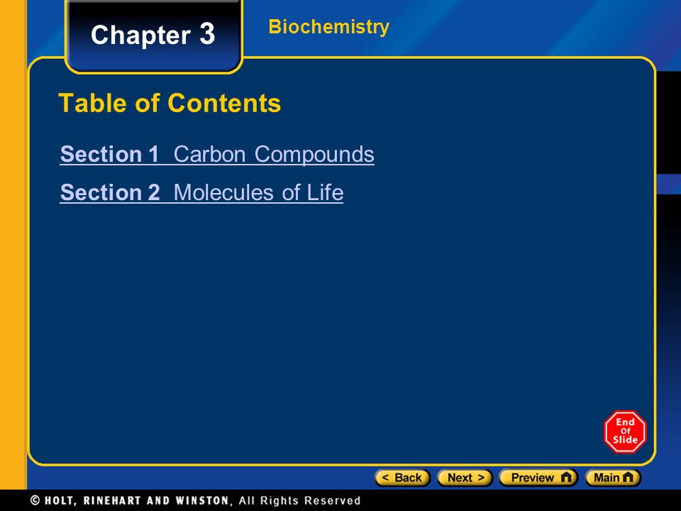 Chapter 3 Table of Contents Section 1 Carbon Compounds
