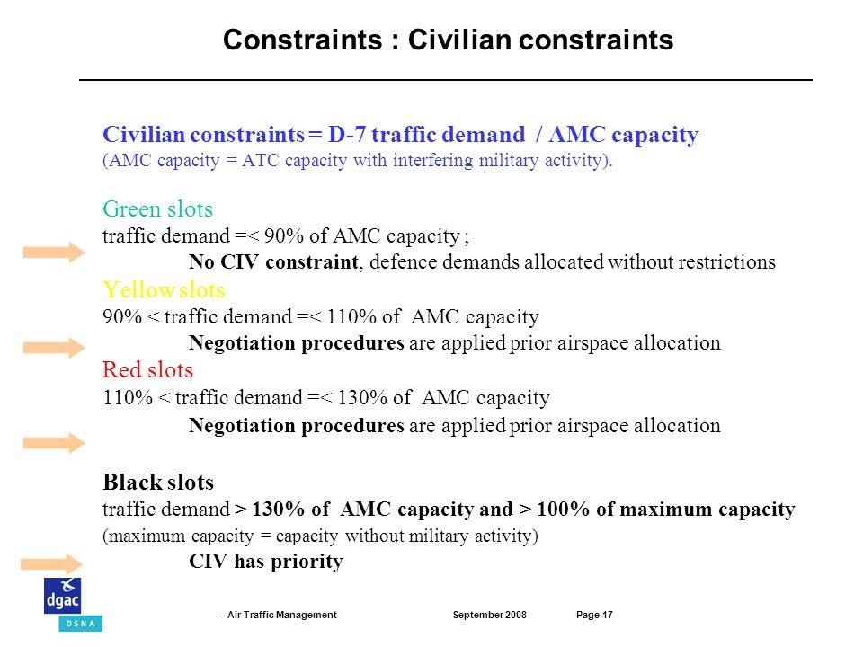 Constraints : Civilian constraints