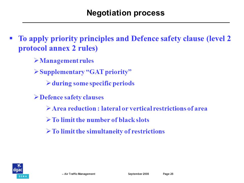 Negotiation process To apply priority principles and Defence safety clause (level 2 protocol annex 2 rules)