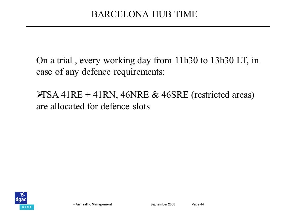 BARCELONA HUB TIME On a trial , every working day from 11h30 to 13h30 LT, in case of any defence requirements:
