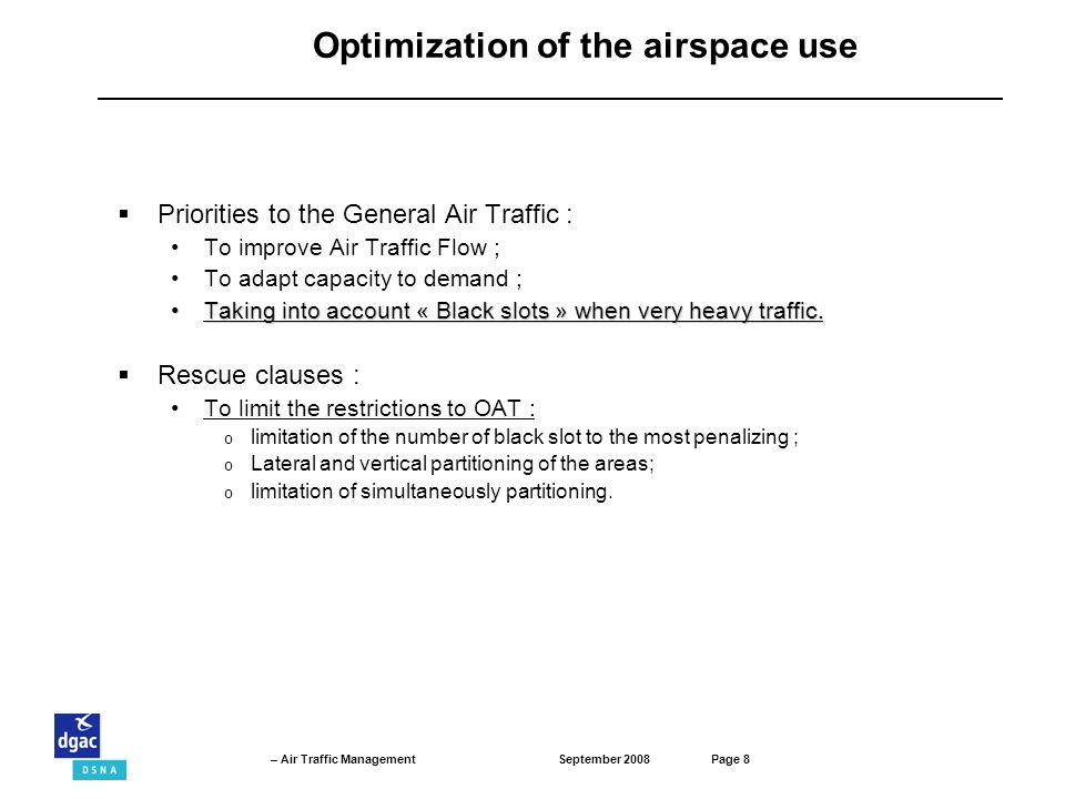 Optimization of the airspace use