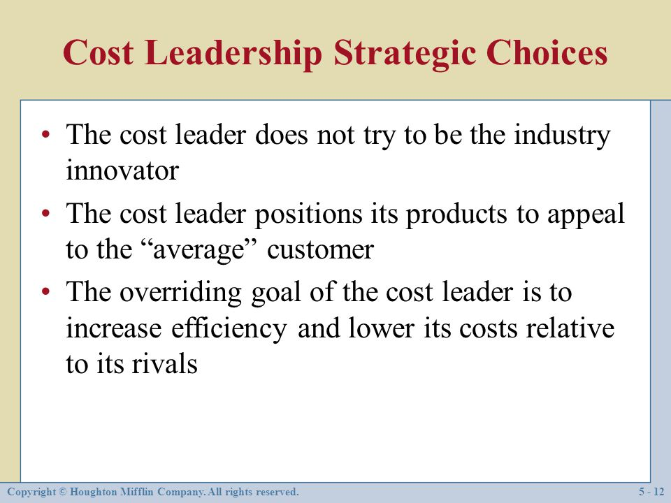 Cost Leadership Strategic Choices