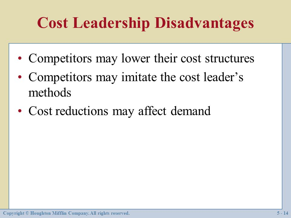 Cost Leadership Disadvantages