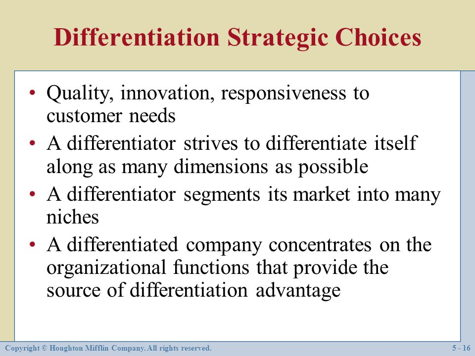 Differentiation Strategic Choices
