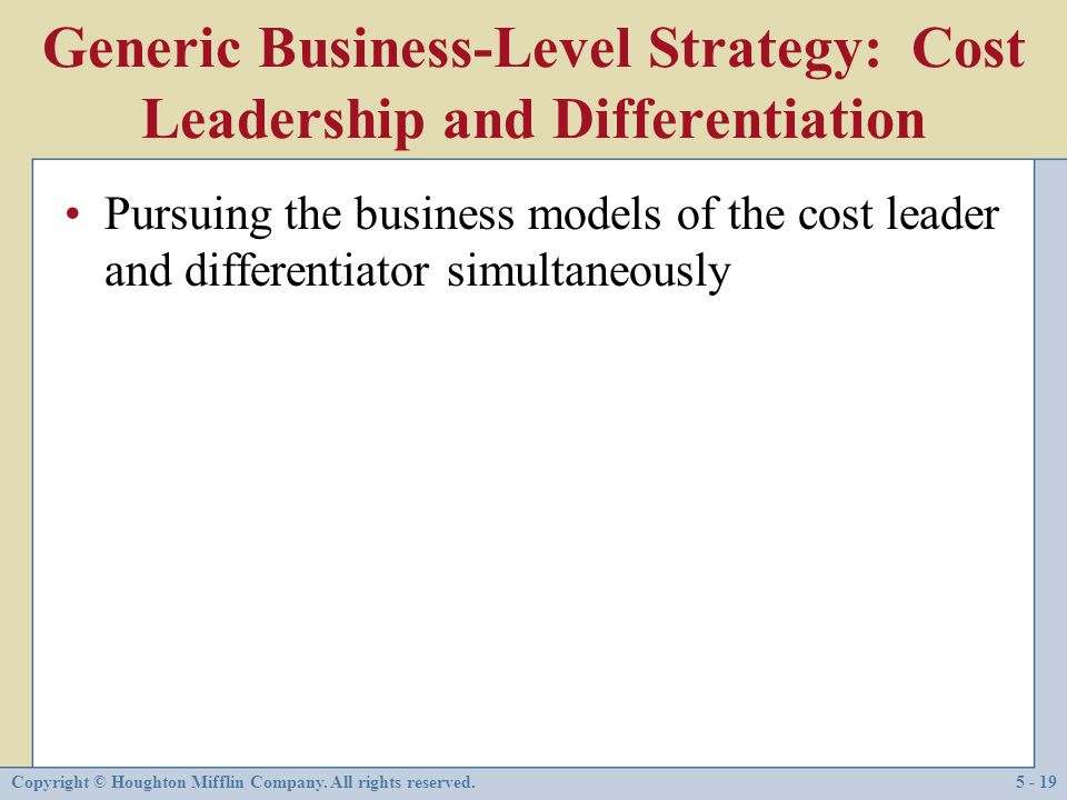 Generic Business-Level Strategy: Cost Leadership and Differentiation