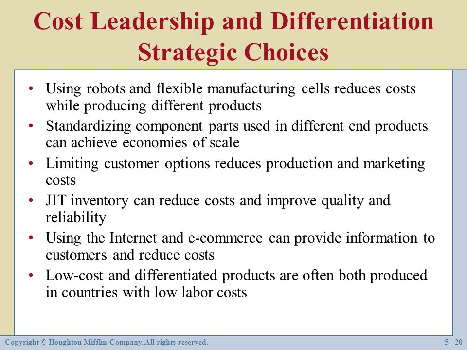 Cost Leadership and Differentiation Strategic Choices