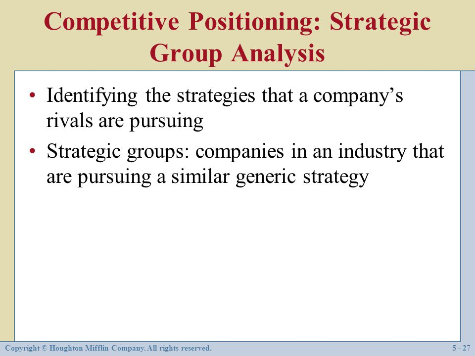 Competitive Positioning: Strategic Group Analysis