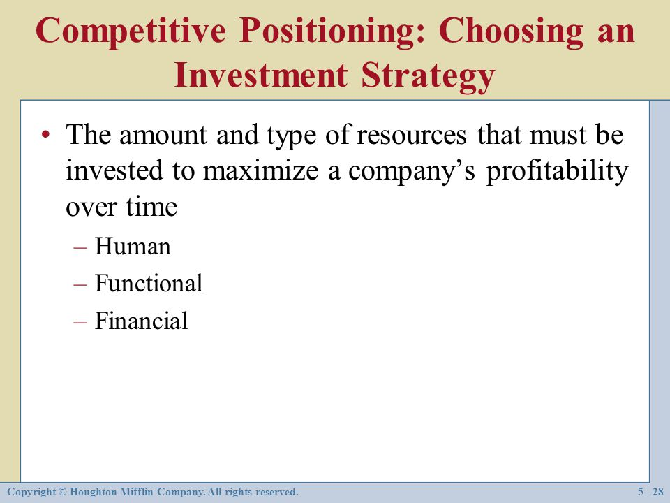 Competitive Positioning: Choosing an Investment Strategy