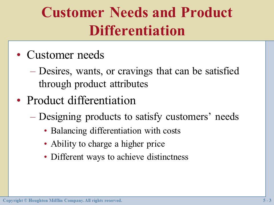 Customer Needs and Product Differentiation