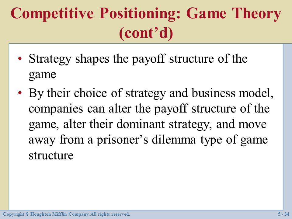 Competitive Positioning: Game Theory (cont'd)