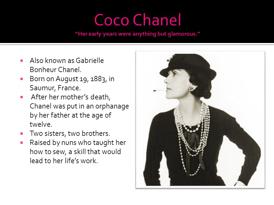 brief bio of coco chanel Coco chanel family, childhood, life achievements, facts, wiki and bio of 2017 complete coco chanel 2017 biography coco chanel family, childhood, life.