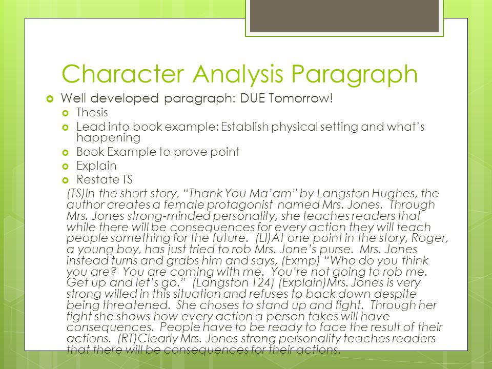 character analysis paragraph