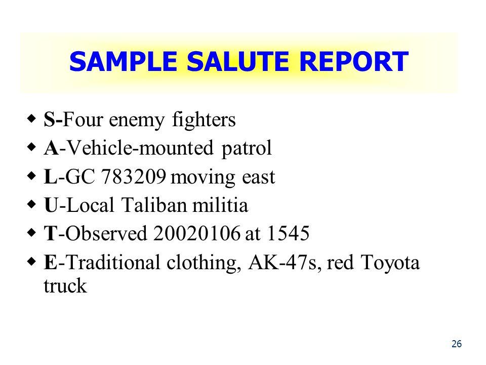 salute report format